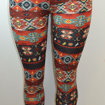 Baslco Tribal Inspired Print High Waist Leggings, Red, One Size