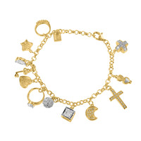 Moon Cross Charms Bracelet Womens Unique Ring 925 Silver Gold Tone