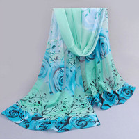 High Quality Women Beautiful Rose Pattern Chiffon Shawl Wrap Echarpe Femme Wraps Scarf Scarves