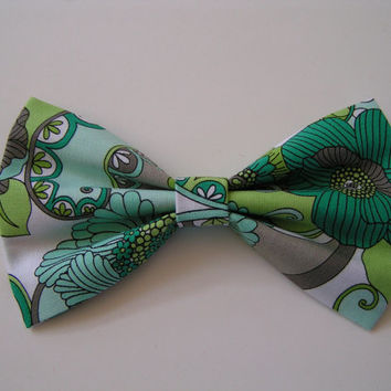 Blue Floral Fabric Hair Bow, Fabric Hair Bows, Hair Bows for Teens,Green Floral Bows, Bows for Girls, Fabric Bow, Cute Bows