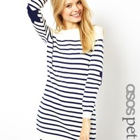 ASOS PETITE Striped Sweater Dress With Star Patch - Cream/ navy