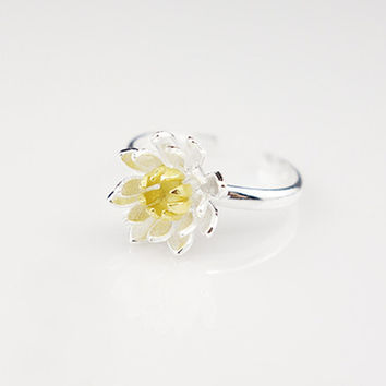 925 Sterling Silver Gold Lotus Rings for Women New Design Lovely Statement Jewelry Adjustable Size Ring