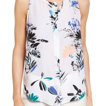 Halogen® Button Front Print Tank (Regular & Petite) | Nordstrom