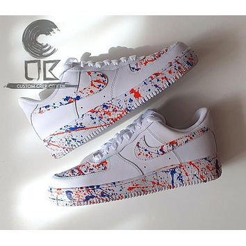 Custom Nike Air Force 1 (Blurange), Splat Trainers, Spill Trainers