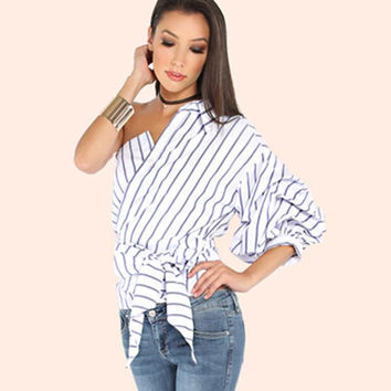 Harajuku Women T-Shirt One Off Shoulder Striped Street Wear Girls Party Clothes Waist Bow Cute Sexy