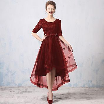 Half Sleeve Scalloped neck Cocktail Dresses 2017 New Hi-Lo Women Cocktail Party Black Royal blue Dark Red Dress Court Train