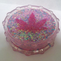 Pretty pink opal hemp leaf herb weed spice grinder by sugarydesigns