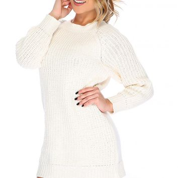 Sexy White Knitted Long Sleeve Sweater Dress