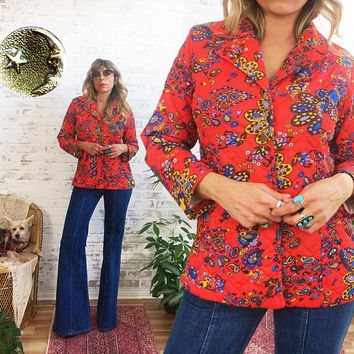 Vintage 1960's PAISLEY Moon And Stars Psychedelic Jacket And Blazer || Size Small Medium 4 To 6