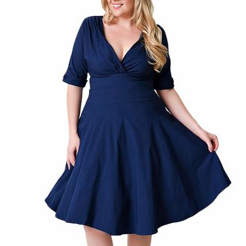 Plus Size Dress 4xl 5xl 6xl Half Sleeves Sexy V Neck  Ruched A Line Skater Dresses
