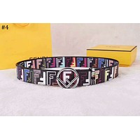 Fendi 2018 new street fashion men and women models double F printing smooth buckle belt #4