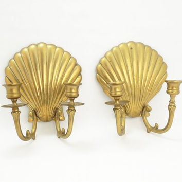 Vintage brass clam shell sconce candle holders - Wall mounted candle holders - Brass candle holders
