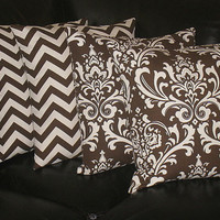 """Decorative Throw Pillows 18 inch brown and natural CHEVRON, DAMASK Accent Pillows Two SETS 18"""" chocolate pillows"""