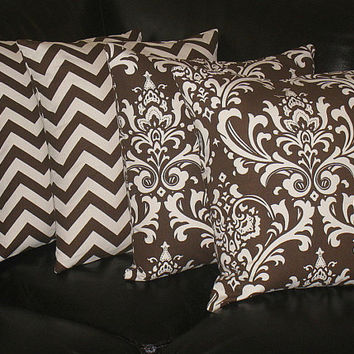 "Decorative Throw Pillows 18 inch brown and natural CHEVRON, DAMASK Accent Pillows Two SETS 18"" chocolate pillows"
