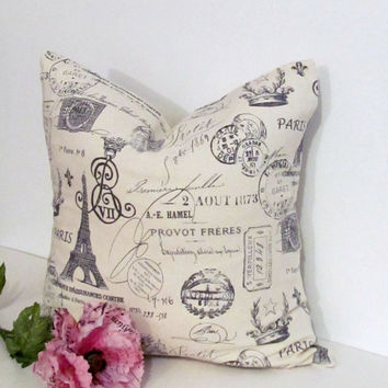 French Script Accent Pillow  Decorative Paris Pillow Cover French Stamp