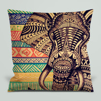 Aztec Elephant for Square Pillow Case 16x16 Two Sides, 18x18 Two Sides, 20x20 Two Sides