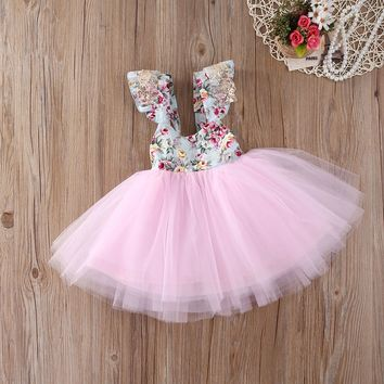 XMAS Kids Baby Girls Floral Dress Party Gown Formal Dresses Sundress US Stock