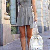 Gray Scoop Back Fit and Flare Dress B005293