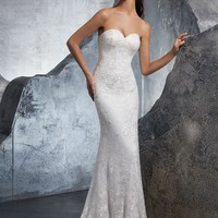 Blu by Morilee 5610 Kara Crystal Beaded Strapless Fitted Wedding Dress