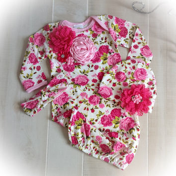 Newborn Girl Take Home Outfit, Newborn Girl Floral Gown, Newborn Layette,Baby Girl Take Home Outfit, Newborn Girl Layette