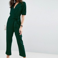 ASOS Wrap Jumpsuit with Self Belt at asos.com