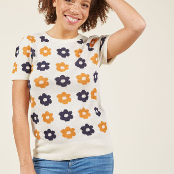 What I Call Fun Intarsia Sweater in Ivory Retro Bloom