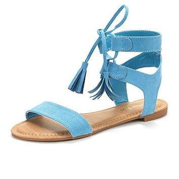 Summer Design Flat Sandals New Women Open Toe Fashion Gladiator Ankle Straps Lace Up Tie
