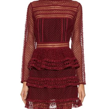 High-neck lace mini dress | Self-portrait | MATCHESFASHION.COM US