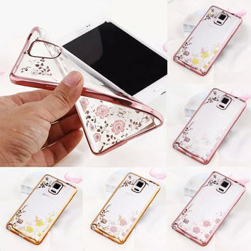 Luxury Plating Clear Soft TPU Cover Case for Samsung Galaxy Note 3 4 5 S5 S6 edge Plus S7 edge Bling Diamond Flower Phone Cases