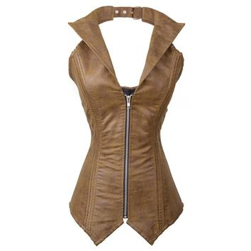 Atomic Brown Faux Leather Steel Boned Halter Corset