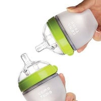 Comotomo Baby Bottle, Green, 5 Ounce, 2 Count New