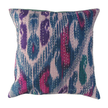"""16"""" Blue Indian Ikat Kantha Thread Floral Cotton Cushion Pillow Throw Cover India Ethnic Decorative Art"""