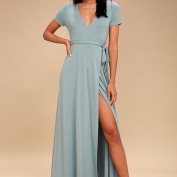 Evolve Slate Blue Wrap Maxi Dress