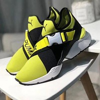 Puma Muse Cut-Out Trending Women Stylish High Quality Running Sneakers Sport Shoes Yellow