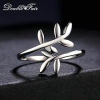 Double Fair 100% 925 Sterling Silver Rings Cute Leaves Design S925 Adjustable Ring Jewelry For Women Engagement Party DFRY001