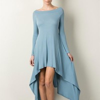 Prada Blue Soft Rib Off Shoulder HiLo Dress