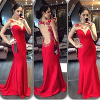 Open Back Sleeveless Prom Dress,Red Prom Dresses,Long Evening Dresses