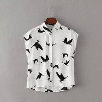 White Birds Print Mandarin Collar Muscle Crop Button Shirt