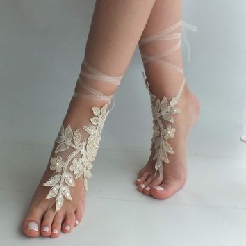 Champagne lace barefoot sandals wedding shoes beach shoes  lace sandals Beach wedding barefoot sandals beach Wedding sandals Bridal