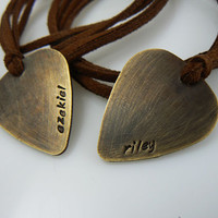 Name necklace - hand stamped - guitar pick