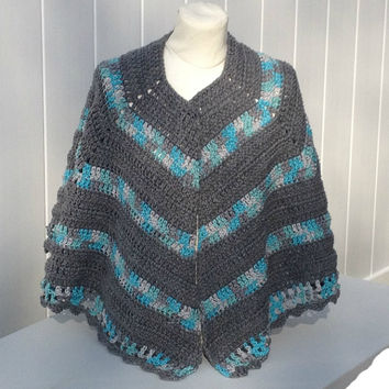 Crochet Cape Poncho Shawl Handmade in Gray and Blue Ready to Ship