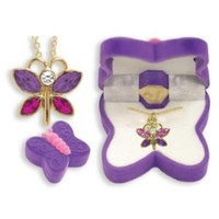 BUTTERFLY Necklace Charm Pendant w/ Crystal Wings in Butterfly Velour Gift Box-Colors may vary