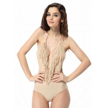 small v neck fringed piece swimsuit