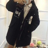 DCCKVQ8 Boy London' Women Casual Eagle Letter Print Middle Long Section Long Sleeve Cardigan Hooded Cotton Clothes Coat