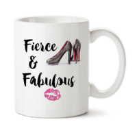 Fierce And Fabulous, Lipstick Kiss, Heels, Boss, Work It Girl, Custom Mug, Tea Cup, Permanent Ink, Coffee Mug, Cup, 15 oz