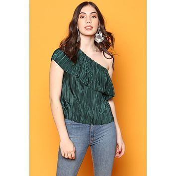 BB Dakota Out On The Town One Shoulder Ruffle Top - Winter Green