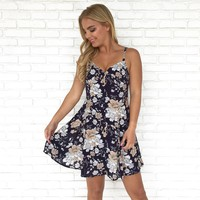 Spring Fling Floral Dress in Navy Blue