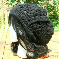 CIJ - Hand Crocheted Hat - The Granny Square Slouch Hat in Black - Christmas in July -  spring, fall, winter accessories