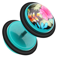 Hawaiian Luau Flower Acrylic Fake Plug with O-Rings