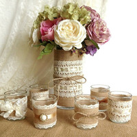 burlap and lace 10 hour tea candles and vase wedding decorations, bridal shower decor, home decor, gift or for you NEW